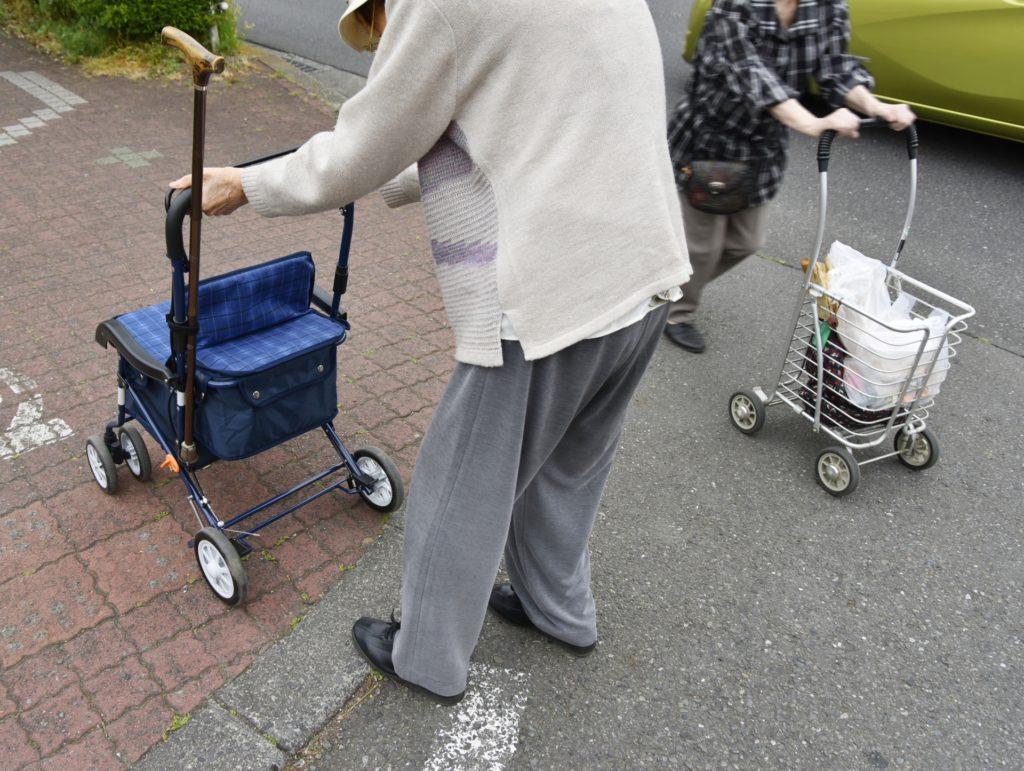 Elderly women shopping